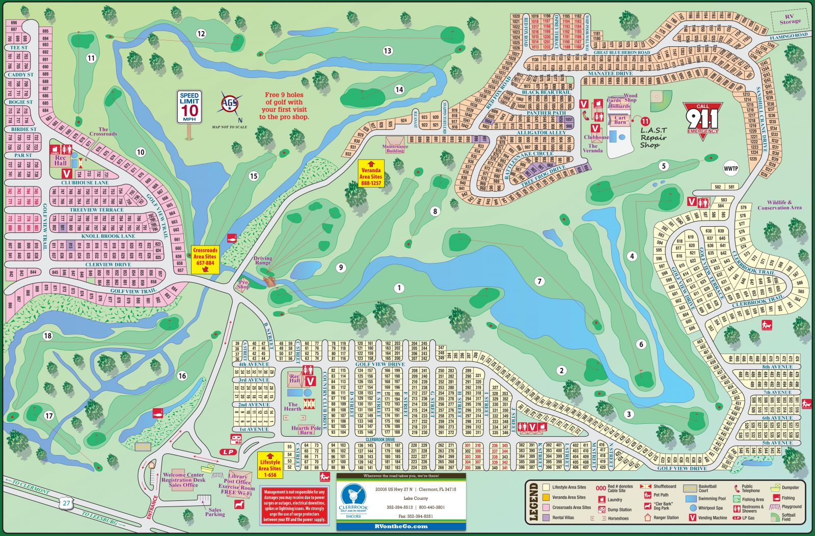 A map of the Clerbrook RV resort in Orlando Florida